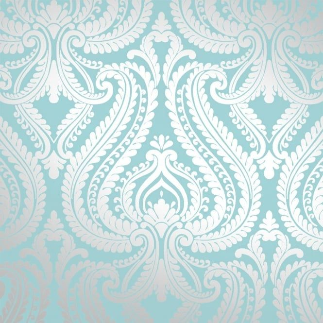 I Love Wallpaper™ Shimmer Damask Metallic Wallpaper Teal / Silver (ILW980012) - Wallpaper from I love wallpaper UK