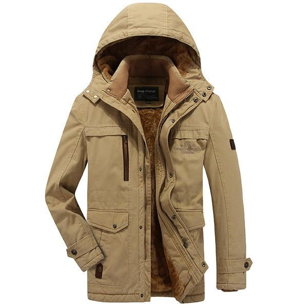 Mens Cotton Thick Fleece Warm Hooded Outdoor Jacket Solid Color Winter Work Coat