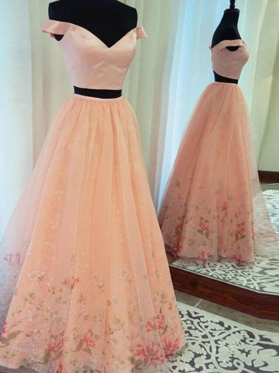 blush pink off shoulder two pieces long tulle fluffy floral prom dress by  PrettyLady 48d4b0fe9050
