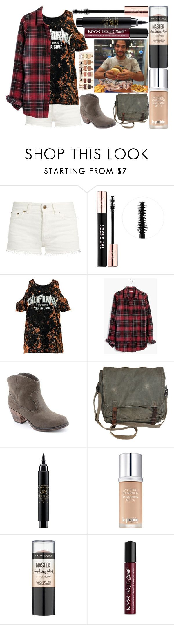 """""""getting burgers w/ tyler posey"""" by silent-killer ❤ liked on Polyvore featuring Yves Saint Laurent, Boohoo, Madewell, Rocket Dog, MAC Cosmetics, La Prairie, Maybelline and NYX"""
