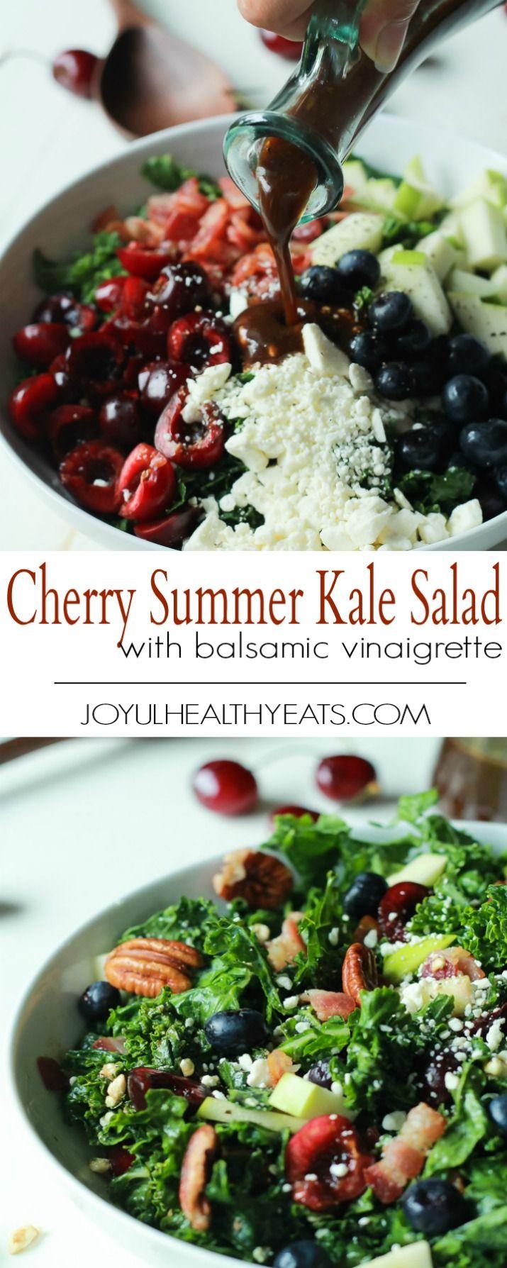 Cherry Summer Kale Salad with Balsamic Vinaigrette
