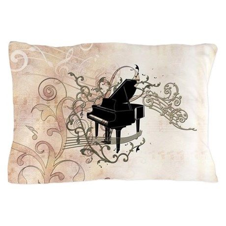Music, piano with key notes and clef Pillow Case on CafePress.com