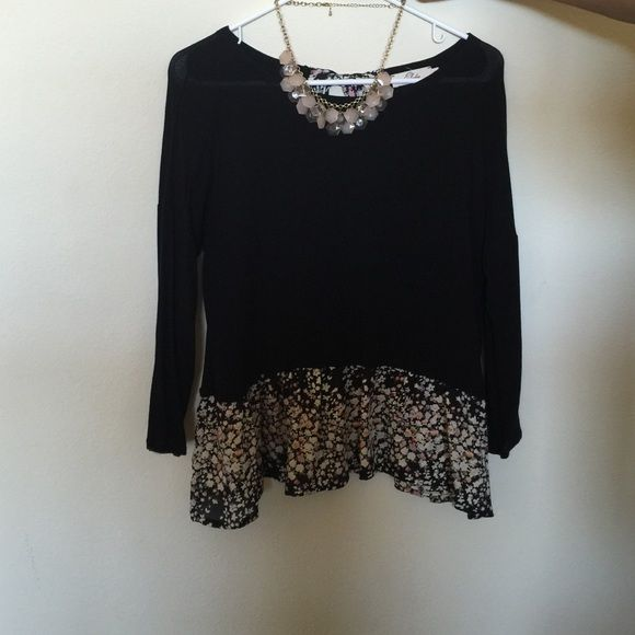 Babydoll Top One of my favorite tops but it doesn't fit anymore. Necklace included. Lightly worn (both items). 3/4 sleeves. Mostly polyester. Tops Blouses