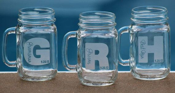 1 Custom Engraved Mason Jars with handle by alishasdesigns on Etsy, $12.00