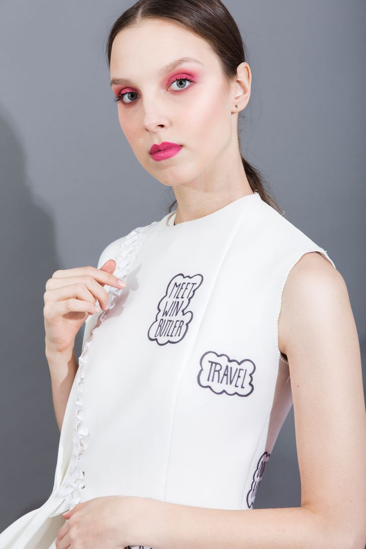 """""""Inner Thoughts, Outer Reflections"""" by Ailbhe Griffin. Look three: neoprene 'Before I Die' dress with embroidery, print and hoop details. Close up of 'Before I Die' wish, to meet Win Butler. #fashion #fashiondesign"""