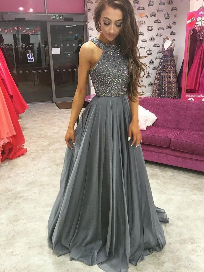 a9931981a0 O-Neck Beading A-Line Prom Dresses,Long Prom Dresses,Cheap Prom ...