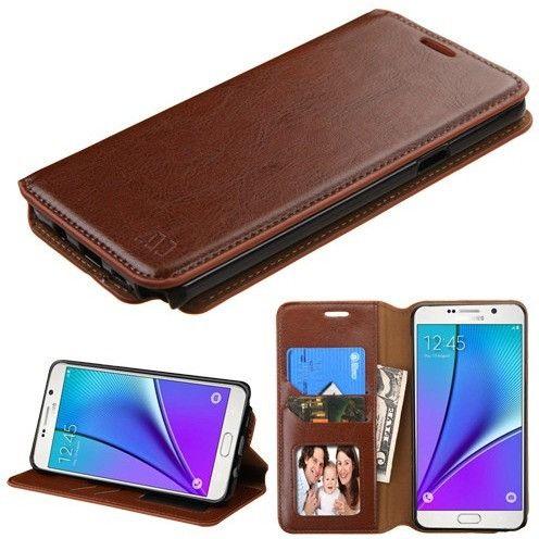 MYBAT Premium Leather Wallet Samsung Galaxy Note 5 Case - Brown