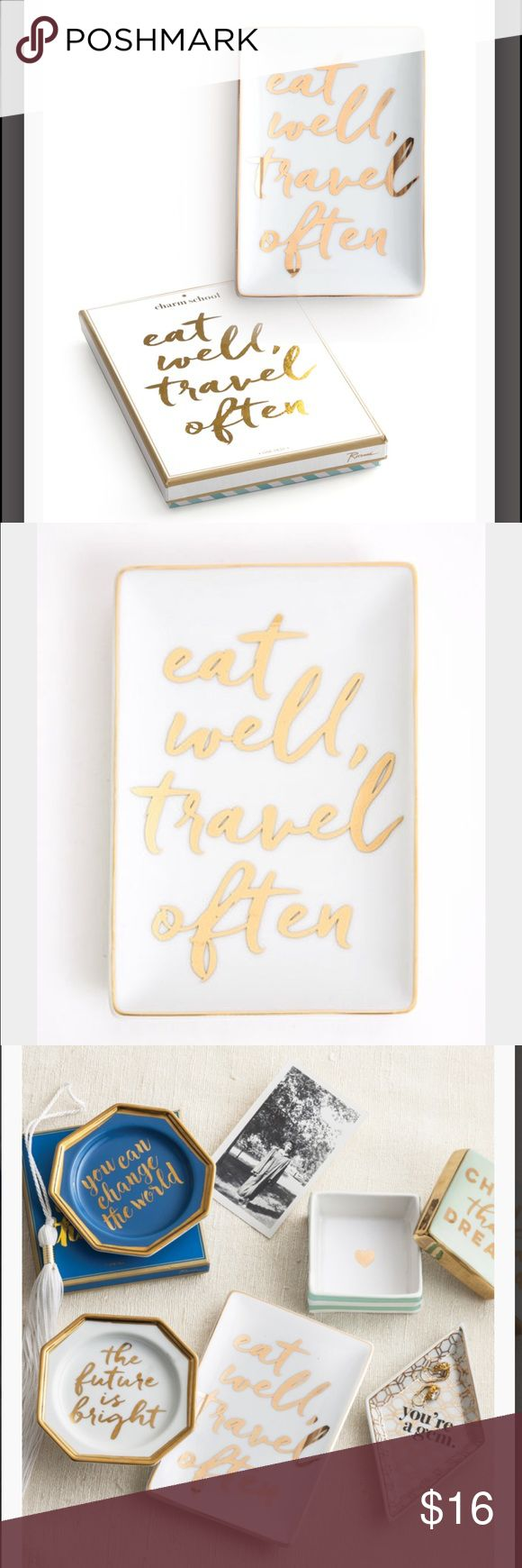 🎁1 DAY SALE🎁 Eat Well, Travel Often Tray Charming little mementos of all sorts that keep life's most significant moments thrilling and alive. One design in a gift box.  Designed in the USA. Manufactured in China. MATERIAL & CARE Porcelain and gold Hand washing recommended. not for use in the microwave. DIMENSIONS 4.25 x 6.25 Rosanna  Accessories