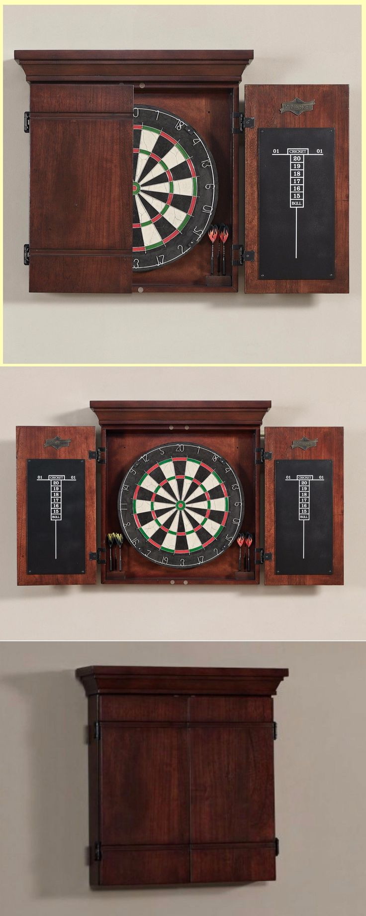 Dart Boards 72576: Vintage Dart Board Cabinet Dartboard Target Game Classic Wooden Traditional Unit BUY IT NOW ONLY: $363.95