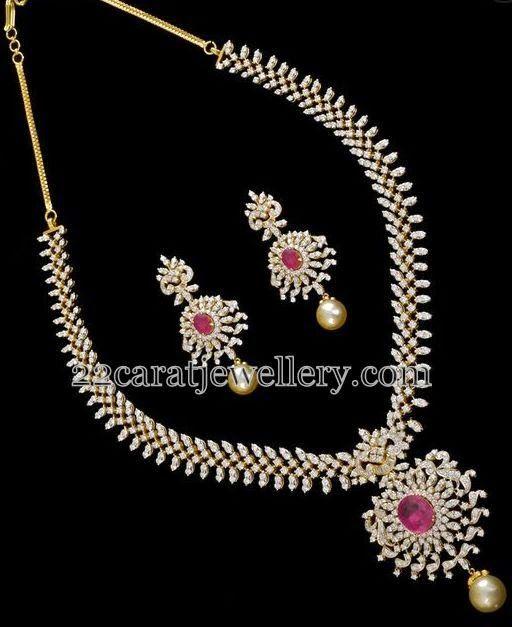 Jewellery Designs: Radiant Diamond Set with Hangings
