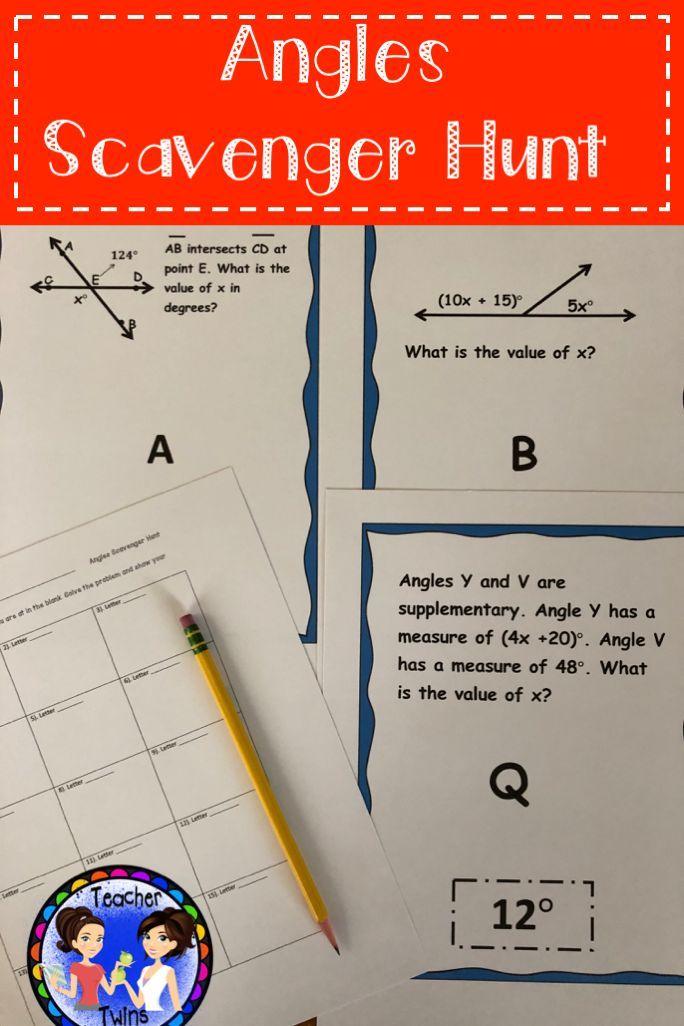 Angles Scavenger Hunt CCS 7 G 5 7th Grade Math Activities