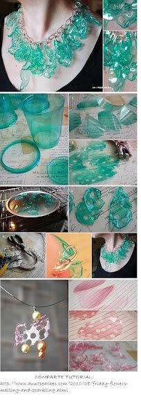 How to make a necklace from a plastic cup.  DIY