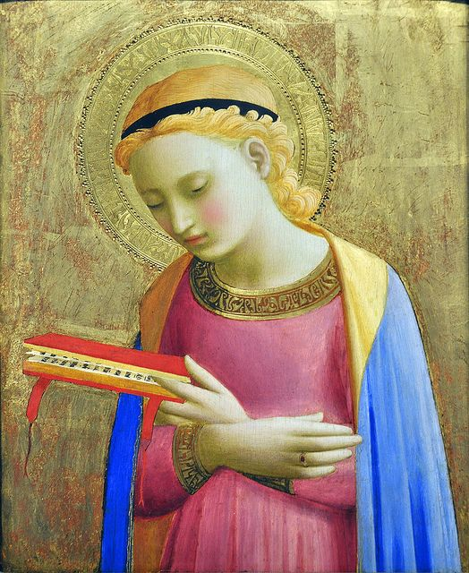 Fra Angelico's Mary. I love how she keeps her place in her book, even during the annunciation.