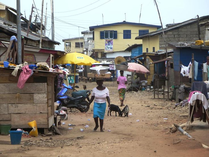 The back streets of Elmina, Ghana, buzz with local life.