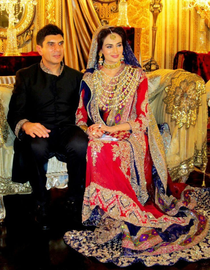 her wedding wearing HSYs beautiful bridal outfit. Pakistani Wedding ...