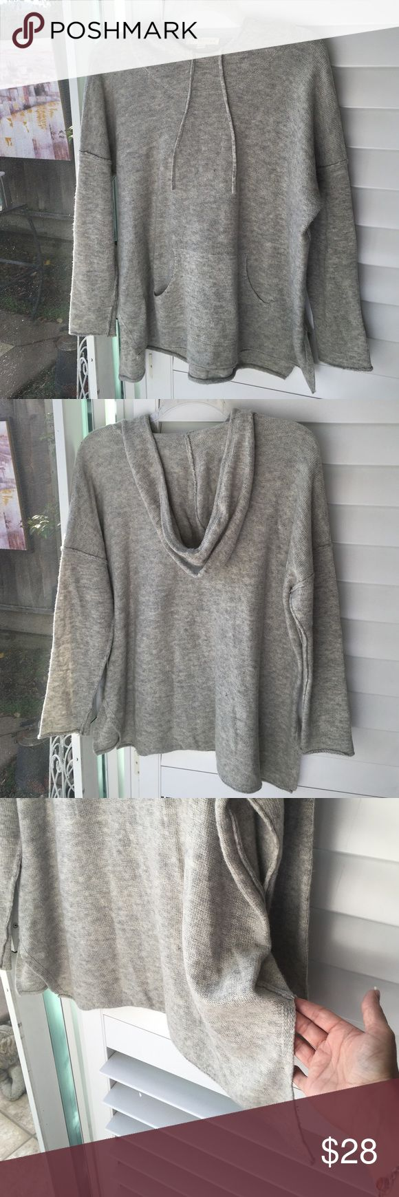 "✨NEW!✨ Amazing Soft Knit Hooded Sweatshirt EUC! This is the one you want to be wearing while you catch up on all those Oscar-nominated movies this weekend or a walk in the park! So cozy and soft! Hooded, pockets. Fun 6"" slits on the side. Pure fabulous!  Heather gray and worn-once EUC! Is it to be yours? Price firm. 😍 Lovestitch Tops"