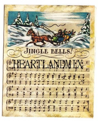 Jingle Bells Sheet Music Vintage Christmas Image Vintage
