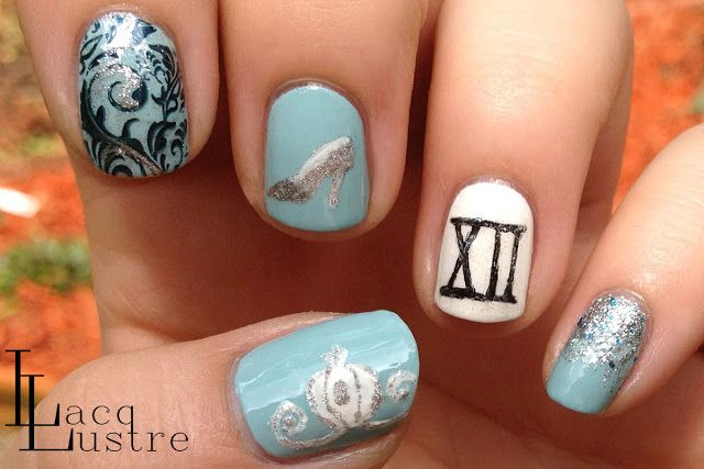 Disney Cinderella Nail Art.  Change the white accent nail