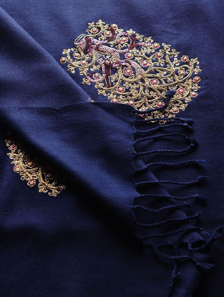 Navy - Golden Zari & Sequin Cashmere Wool Shawl - Buy Accessories > Shawls > Navy - Golden Zari & Sequin Cashmere Wool Shawl Online at Jaypore.com or visit www.richadesigns.in