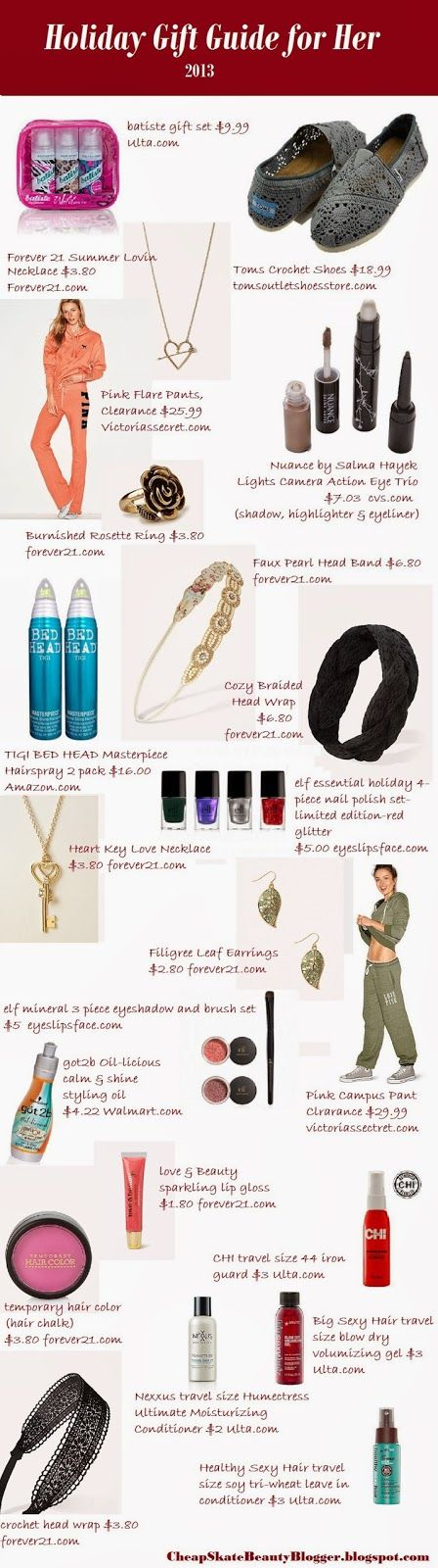 Best Gift Guide for her, teens or 20 somethings, best deals on accessories, hair and makeup gifts.