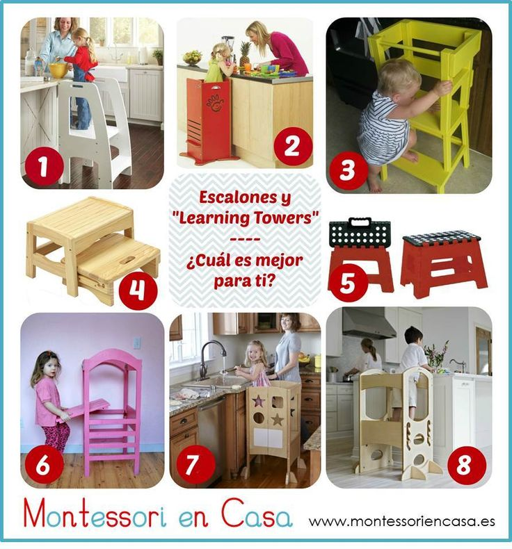 Stool and learning towers comparison from Montessori en Casa