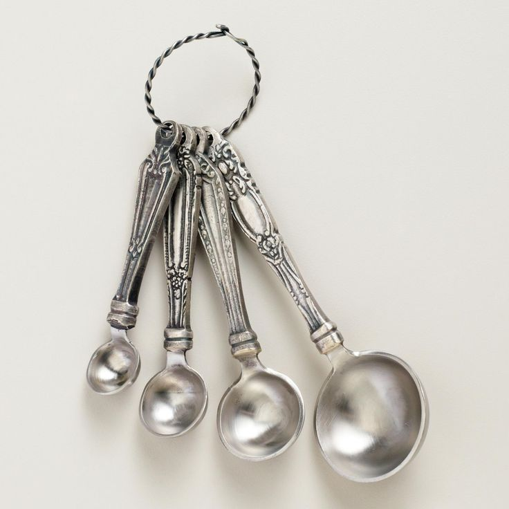 Like a collection of your grandmother's antique silverware, our Vintage Measuring Spoons offer a sweet vintage vibe that will have you digging out your favorite recipes in no time. Each of these four measuring spoons features a different handle design for an eclectic appeal, with the measurements clearly marked on the front for easy cooking and baking.