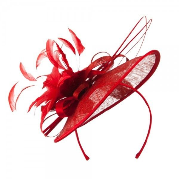 Red ❤ liked on Polyvore featuring accessories, hair accessories, feather fascinators, headband fascinator, fascinator headband, hair band accessories and red flower hair accessories