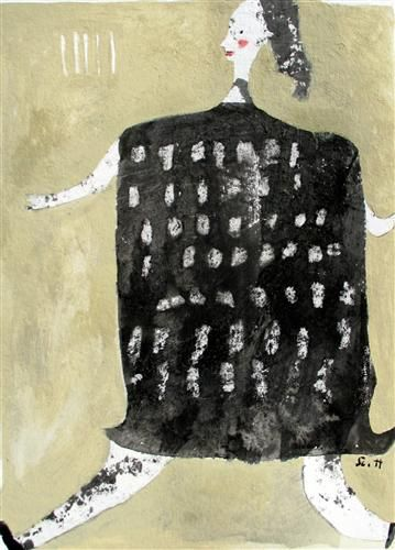 "Original art for sale at UGallery.com | Running To Stand Still by Scott Bergey | $225 | mixed media artwork | 12"" h x 9"" w 