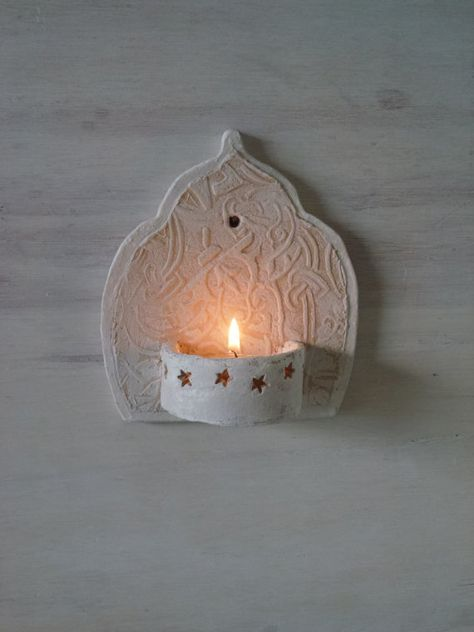 Moroccan style ceramic wall sconce, small tea light holder for bathroom veranda or courtyard boho housewarming gift by Louise Fulton Studio