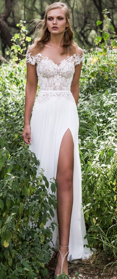 Featured Dress: Limor Rosen; Off-the-shoulder high slit wedding dress idea.