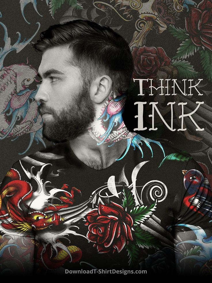 Attention-grabbing tattoo print designs that would look equally cool on threads or your bod! http://downloadt-shirtdesigns.com/blog/think-ink-tattoo-art-for-t-shirts/