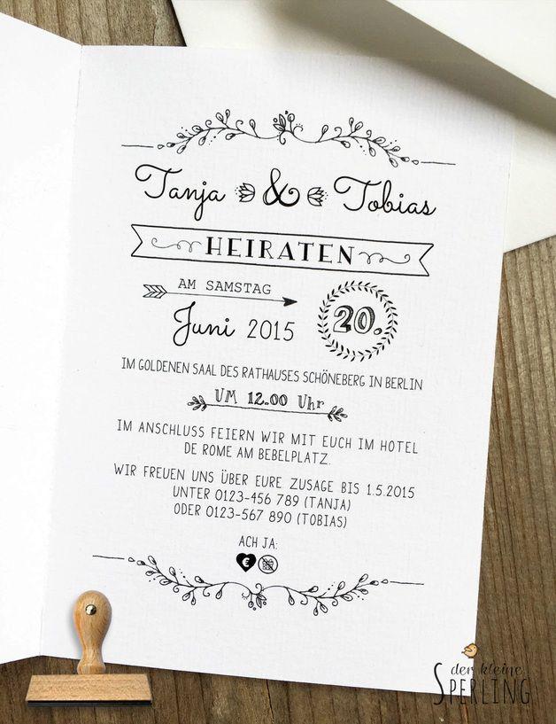Einladungskarten - STEMPEL Hochzeitseinladung Vintage - ein Designerstück von DerkleineSperling-Stempel bei DaWanda