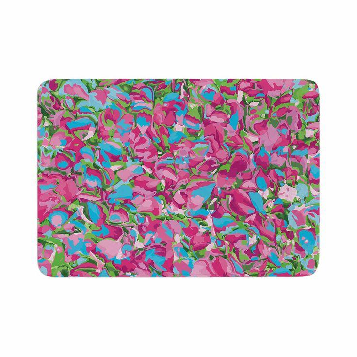 """Empire Ruhl """"Abstract Spring Petals"""" Pink Teal Memory Foam Bath Mat"""