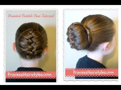 ▶ Braided Bubble Bun Tutorial, Dance Hairstyles - YouTube - I've 'invented' a lot of sock bun variatons that I wear a lot, but I have never thought of doing this and it's very cute!