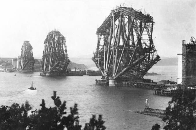 Construction of the Forth Bridge in Scotland.