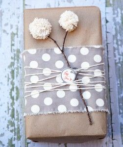 Gift Wrap Ideas, Yarn pom pom's on a Gift Wrapping Gift Wrapper