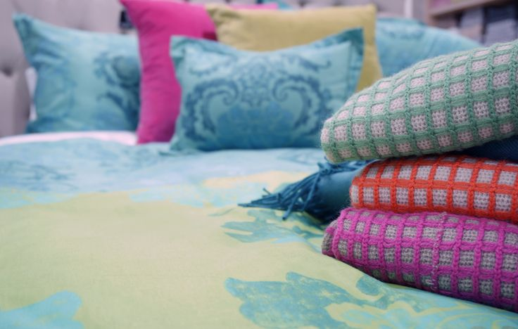 Designers Guild Kashgar bedlinen looking lovely and bright with pops of contrast colour.