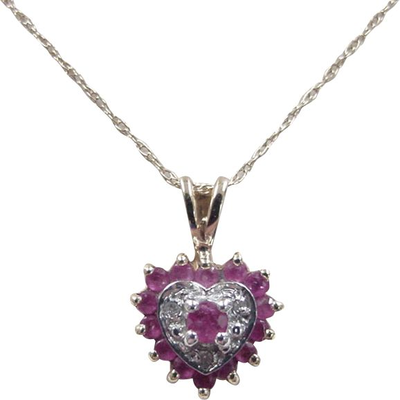 """Vintage 14k Gold Two-Tone Ruby and Diamond Heart Necklace ~ 16"""""""