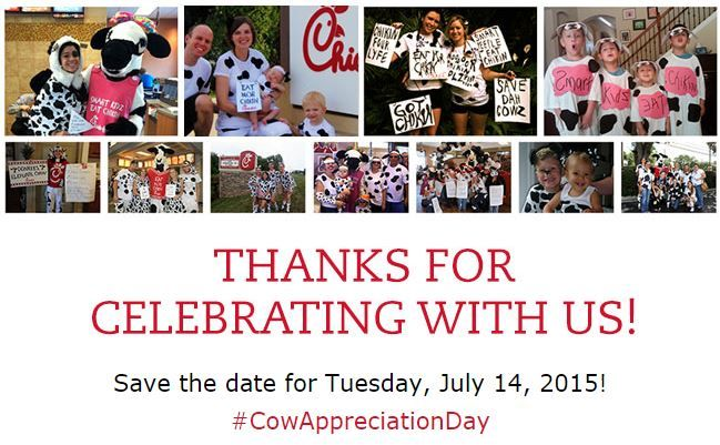 Free Chick-fil-A on Cow Appreciation Day July 14, 2015