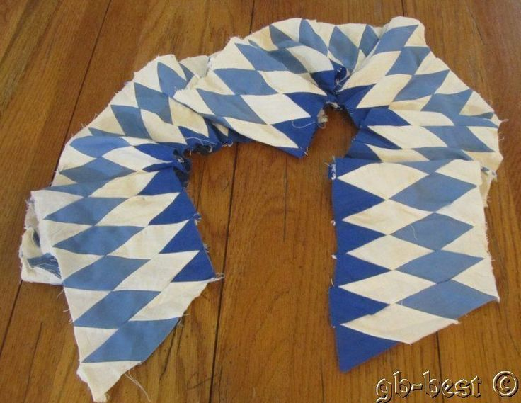 "Vintage Blue DIAMONDS Quilt Top Border pc 75"" x 5.5"" quilting crafts"