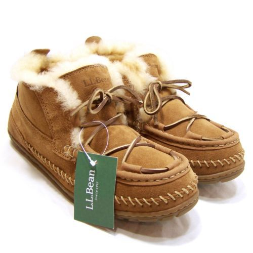 New Ll Bean Womens Shearling Lined Moccasin Ankle Boots Chukka Slippers