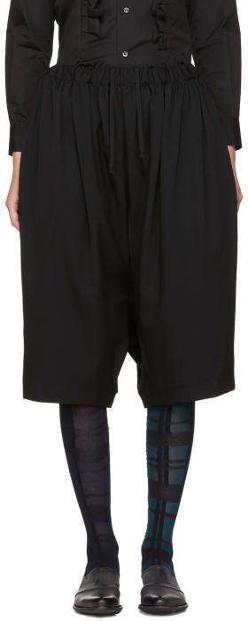 Comme des Garcons Black Wide-Leg Cropped Trousers