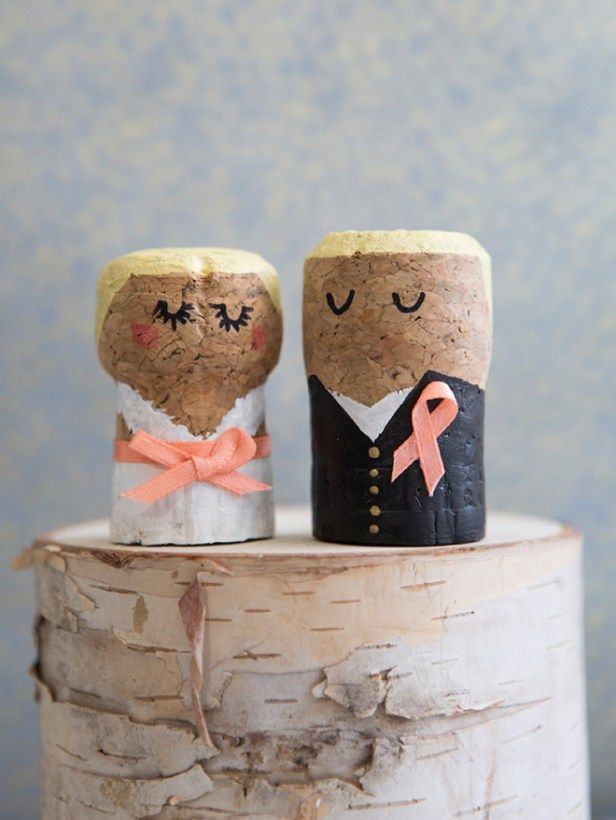 omg these diy champagne cork bride and groom cake toppers are the cutest thing ever