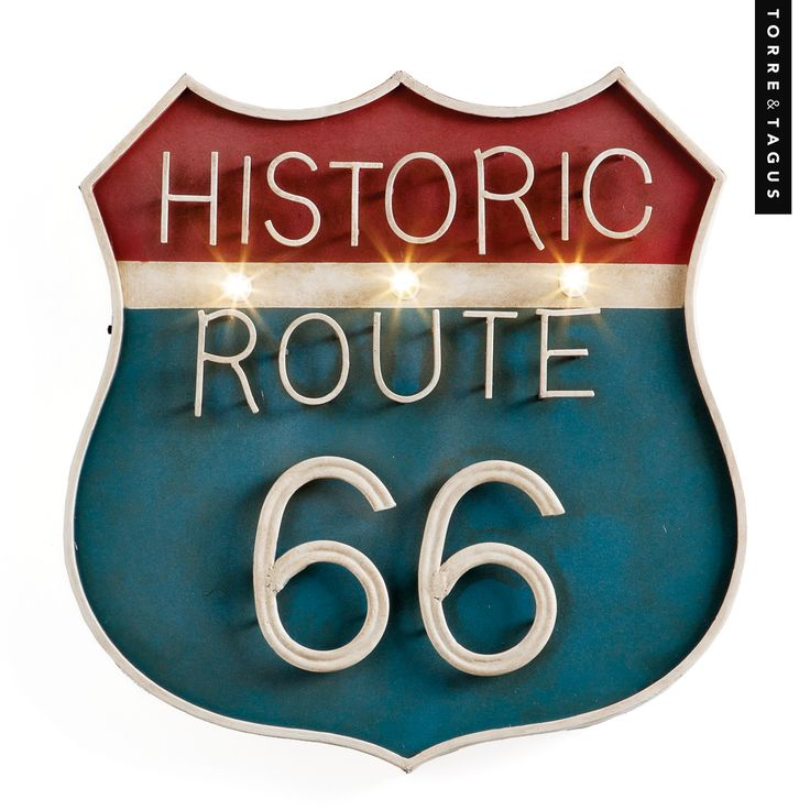 Bring some historic flare to a den or games room with this Vintage Route 66 Illuminated Wall Sign. #TorreAndTagus #Route66WallSign #TravelHomeDecor www.torretagus.com