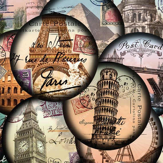 Carte Postale vintage #printables from London, Paris, Italy and around the world. Each circle collage was created with up to 30 layers of vintage ephemera. By piddix.