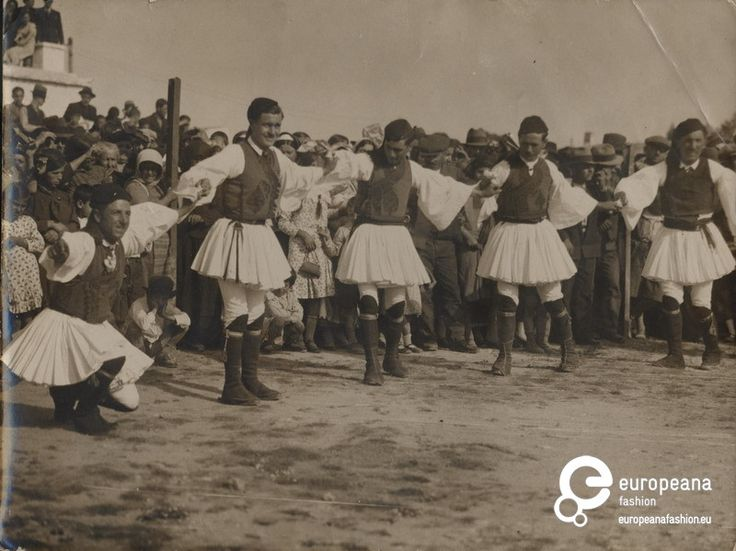"Photo Aharnes (Menidi)  Attica, Greece B/W photo of men in fustanela costumes dancing. Inscription: ""Ηθογραφικά (ελληνικά)"". 1930"