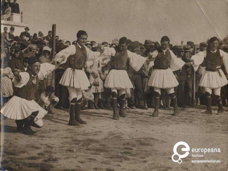 "Photo Aharnes (Menidi)  Attica, Greece B/W photo of men in fustanela costumes dancing. Inscription: ""Ηθογραφικά (ελληνικά)"". 1930"