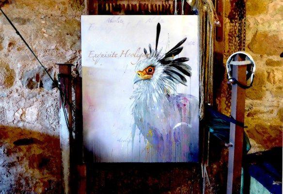Snake stamper secretary bird art.
