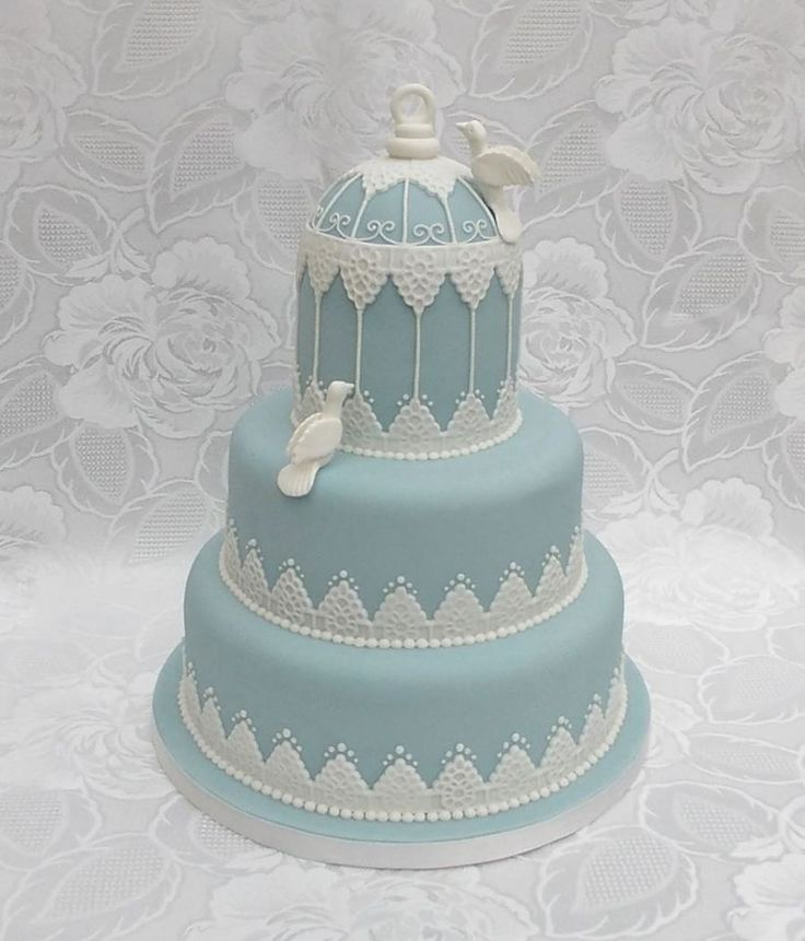 Bird Cage Wedding Cake With Hand Made Doves A Wedgewood Blue With White Fondant Lace Made By Veritys Creative Cakes  on Cake Central