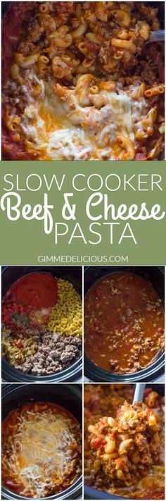 slow cooker ground beef and cheese pasta   Gimme Delicious